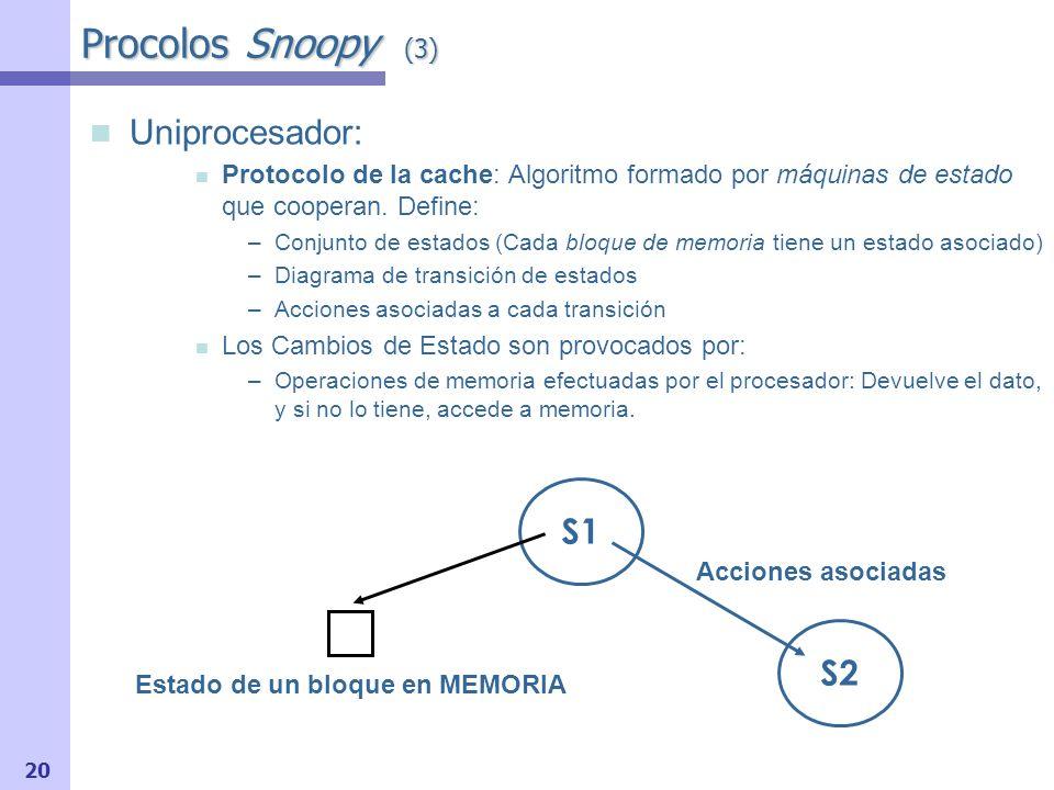 21 Procolos Snoopy (4) Multiprocesador: Protocolo Snoopy (basado en espionaje del bus): Algoritmo formado por máquinas de estado que cooperan.