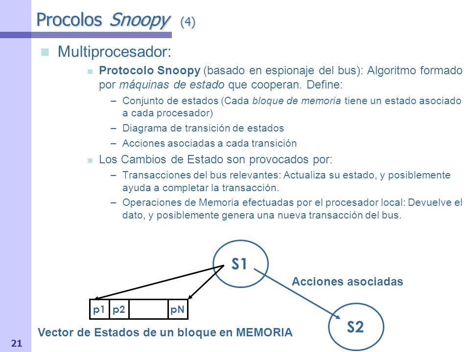 22 Diagrama de Estados en Uniprocesador Inicial : bloques inválidos Lectura : Inválido Válido Puede generar reemplazamiento Escritura : no cambia el estado V I Lectura / -- Escritura / Memoria Fallo Lectura / Memoria Protocolo Snoopy de 2 Estados (1) Un único nivel de cache.