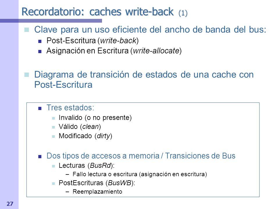 28 PrRd/ PrWr/BusRd Fallo Escritura PrWr/ Acierto Escritura V M I Replace/BusWB PrRd/BusRd Replace/ PrWr/ Acierto Escritura Recordatorio: caches write-back (2) Hacer ejemplo folios