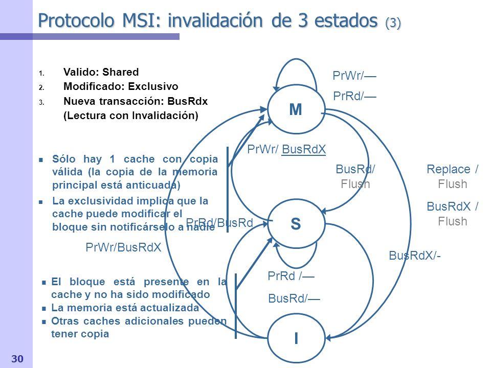 31 Protocolo MSI: invalidación de 3 estados (4) 3.