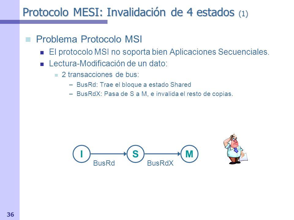 37 Protocolo MESI 4 Estados : (M) Modificado, (E) Exclusivo, (S) Compartido e (I) Inválido Nuevo estado (Exclusive Clean / Exclusive) Implica Exclusividad: puede pasarse a (M) sin transacción de bus No implica Pertenencia: el controlador de cache no debe responder a transacción BusRd, pues memoria actualizada.