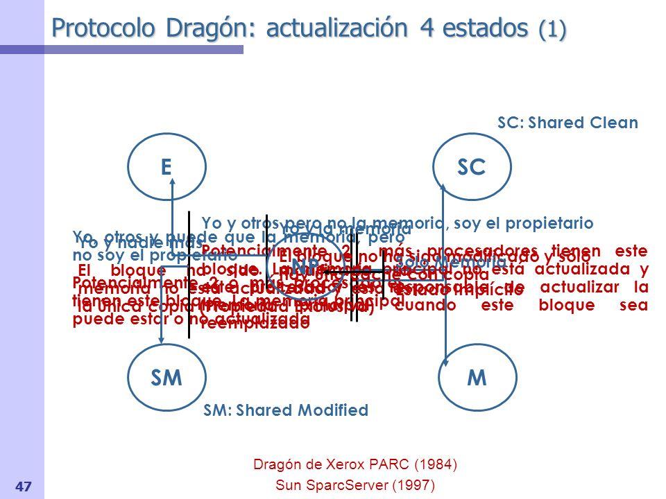 Protocolo Dragón: actualización 4 estados (2) Eventos Procesador PrRd / PrWr PrRdMiss / PrWrMiss Transacciones del Bus BusRd / BusWB / Flush BusUpd (Nueva) Broadcast de la palabra modifica a todos los procesadores para que se actualicen las copias Señal S Para soportar el estado Exclusivo (igual que MESI) 48