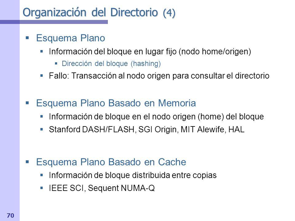 71 Directorios planos basados en memoria (1) Directorio: 1 bit de presencia por nodo Estado: uno o más bits Más simple: un único bit (bit de modificación) Estado del bloque en la cache: Cualquiera de los anteriores: MSI, MESI, MOESI, etc.