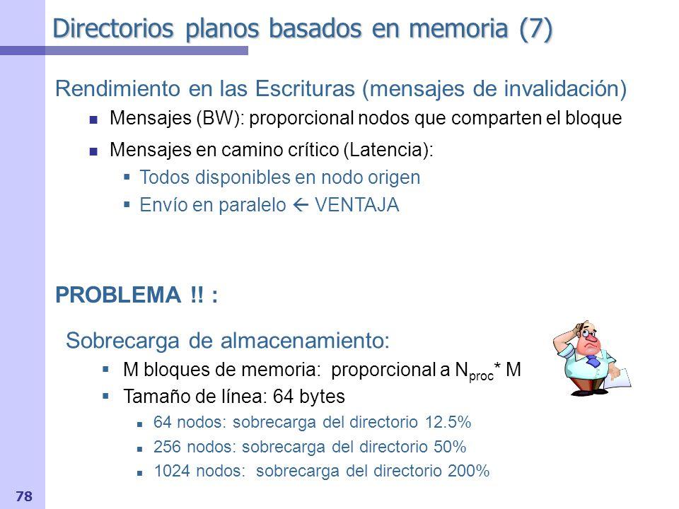 79 Directorios planos basados en cache (1) Existe una memoria principal origen de cada bloque En lugar de vector de bits Puntero nodo cabecera con copia –Entrada en el nodo origen tiene bits de estado Resto de nodos con copia: –Lista doblemente enlazada, distribuida P Cache P P Memoria Principal (Home) Nodo cabecera Nodo 1Nodo 2