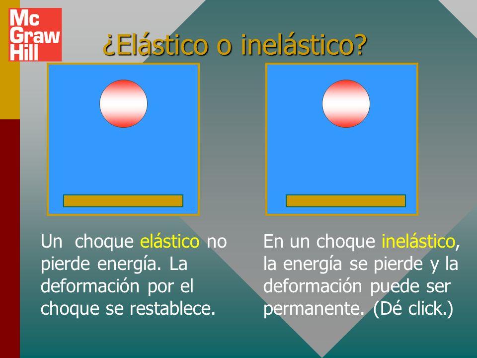 Ejemplo 2 (cont.): Ignore la fricción, ¿cuánta energía fue liberada por el resorte? A B 2 kg 1 kg A B 8 m/s 4 m/s ½kx 2 = ½ m A v A + ½m B v B 2 Cons.