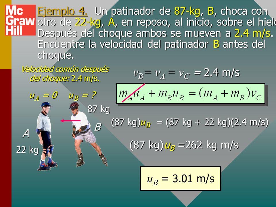 General: Completamente inelástico Son los choques en que dos objectos se adhieren y tienen una velocidad común v C después del impacto. Conservación d