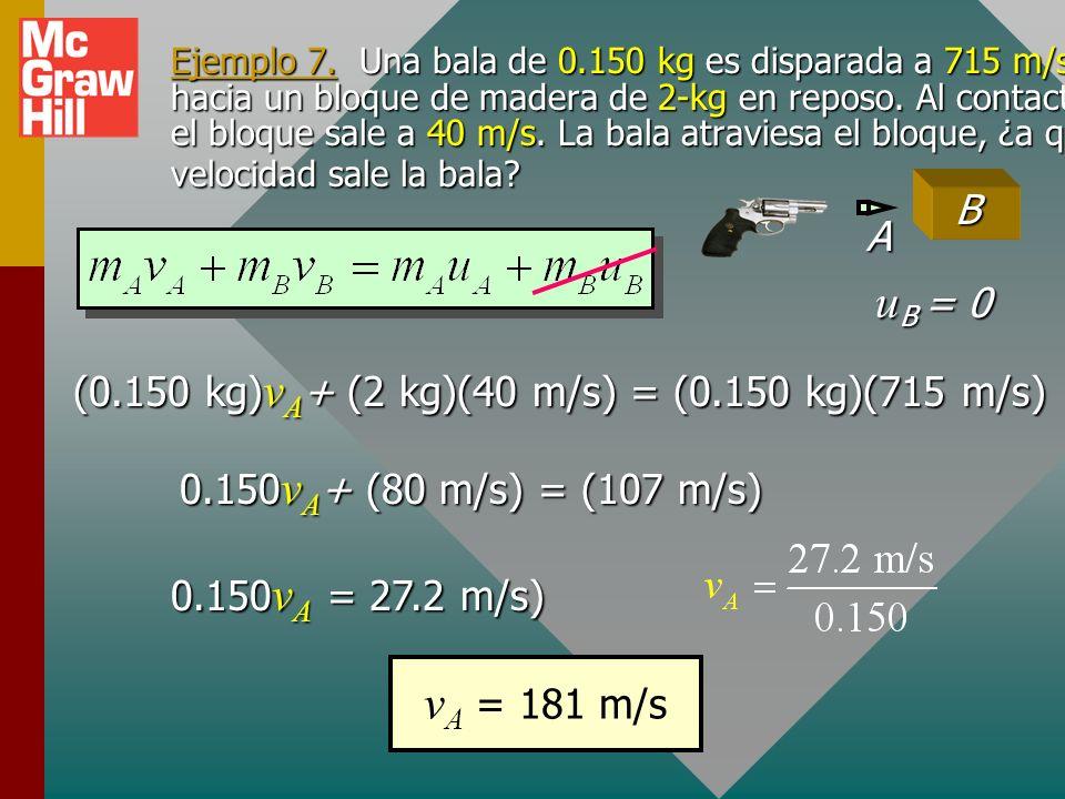 Ejemplo 6 (continuación) AB AB 3 m/s 1 m/s vAvAvAvA vBvBvBvB 1 kg 2 kg v A + 2 v B = -5 m/s v A - v B = - 4 m/s Reste: v B2 = - 1 m/s 0 + 3v B2 = - 1