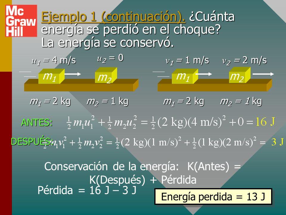 Ejemplo 1. Una masa de 2-kg se mueve a 4 m/s al chocar con otra con masa inicial, en reposo, de 1-kg. Después del choque, la masa de 2-kg se mueve a 1