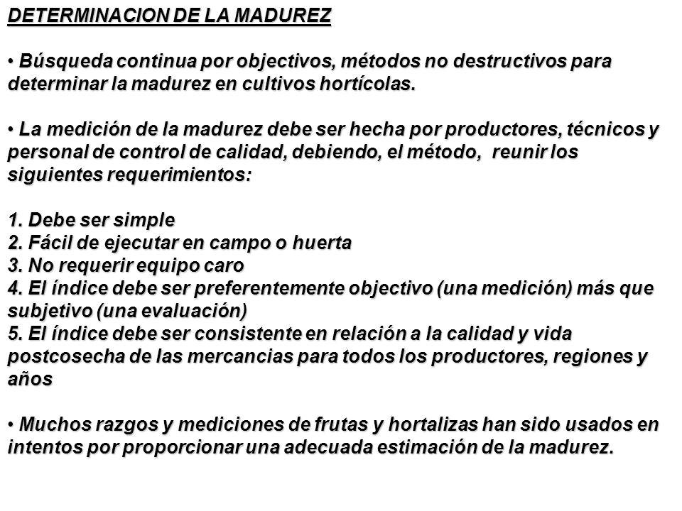 DETERMINACION DE LA MADUREZ Búsqueda continua por objectivos, métodos no destructivos para determinar la madurez en cultivos hortícolas. Búsqueda cont