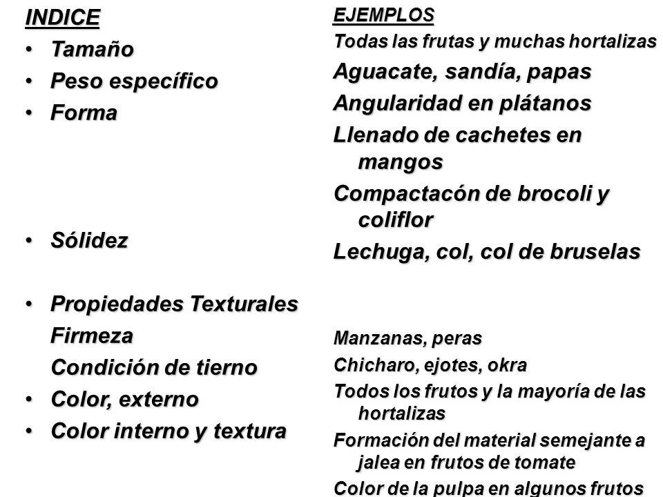 INDICE TamañoTamaño Peso específicoPeso específico FormaForma SólidezSólidez Propiedades TexturalesPropiedades TexturalesFirmeza Condición de tierno C