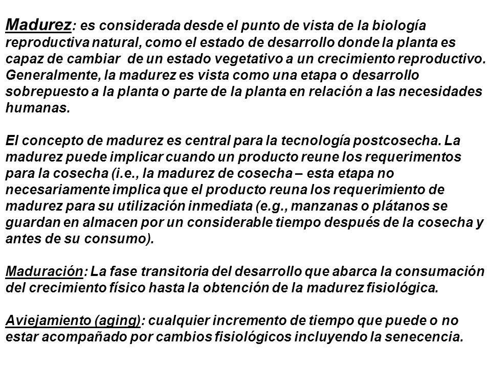 Madurez : es considerada desde el punto de vista de la biología reproductiva natural, como el estado de desarrollo donde la planta es capaz de cambiar