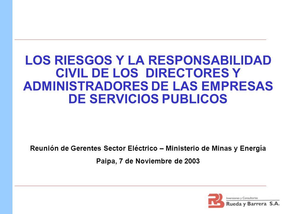 LOS RIESGOS Y LA RESPONSABILIDAD CIVIL DE LOS DIRECTORES Y ADMINISTRADORES DE LAS EMPRESAS DE SERVICIOS PUBLICOS Reunión de Gerentes Sector Eléctrico