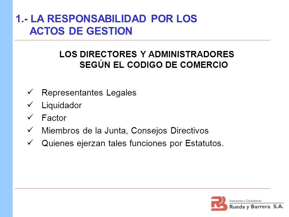 Representantes Legales Liquidador Factor Miembros de la Junta, Consejos Directivos Quienes ejerzan tales funciones por Estatutos. 1.- LA RESPONSABILID