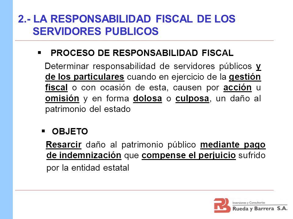 2.- LA RESPONSABILIDAD FISCAL DE LOS SERVIDORES PUBLICOS PROCESO DE RESPONSABILIDAD FISCAL Determinar responsabilidad de servidores públicos y de los
