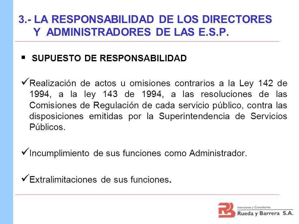 SUPUESTO DE RESPONSABILIDAD Realización de actos u omisiones contrarios a la Ley 142 de 1994, a la ley 143 de 1994, a las resoluciones de las Comision