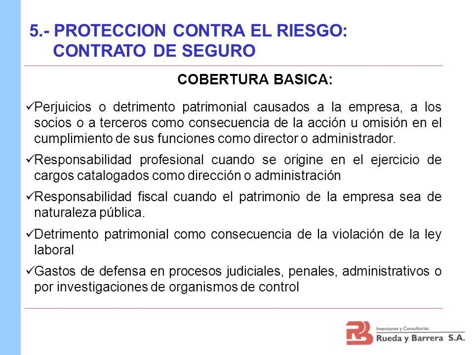COBERTURA BASICA: Perjuicios o detrimento patrimonial causados a la empresa, a los socios o a terceros como consecuencia de la acción u omisión en el