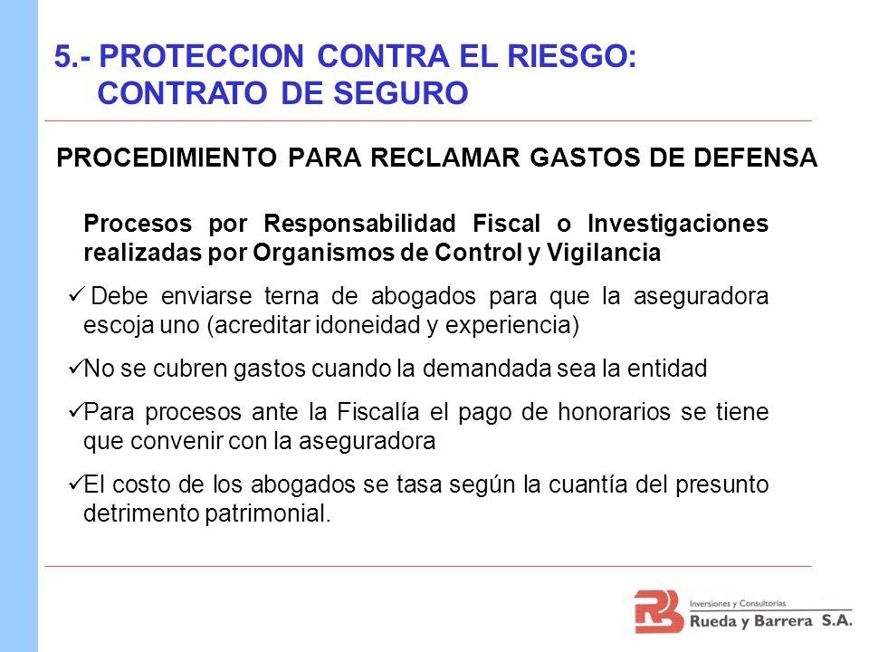 PROCEDIMIENTO PARA RECLAMAR GASTOS DE DEFENSA Procesos por Responsabilidad Fiscal o Investigaciones realizadas por Organismos de Control y Vigilancia