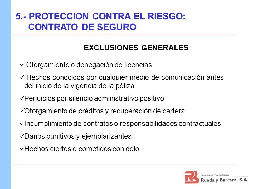 EXCLUSIONES GENERALES Otorgamiento o denegación de licencias Hechos conocidos por cualquier medio de comunicación antes del inicio de la vigencia de l