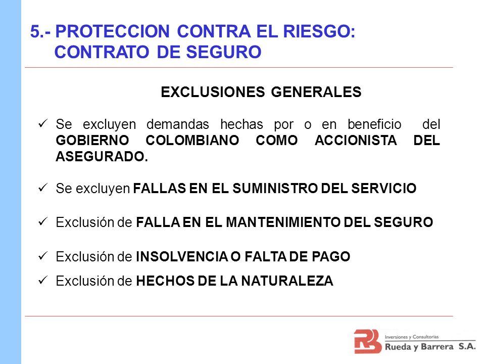 Se excluyen demandas hechas por o en beneficio del GOBIERNO COLOMBIANO COMO ACCIONISTA DEL ASEGURADO. Se excluyen FALLAS EN EL SUMINISTRO DEL SERVICIO