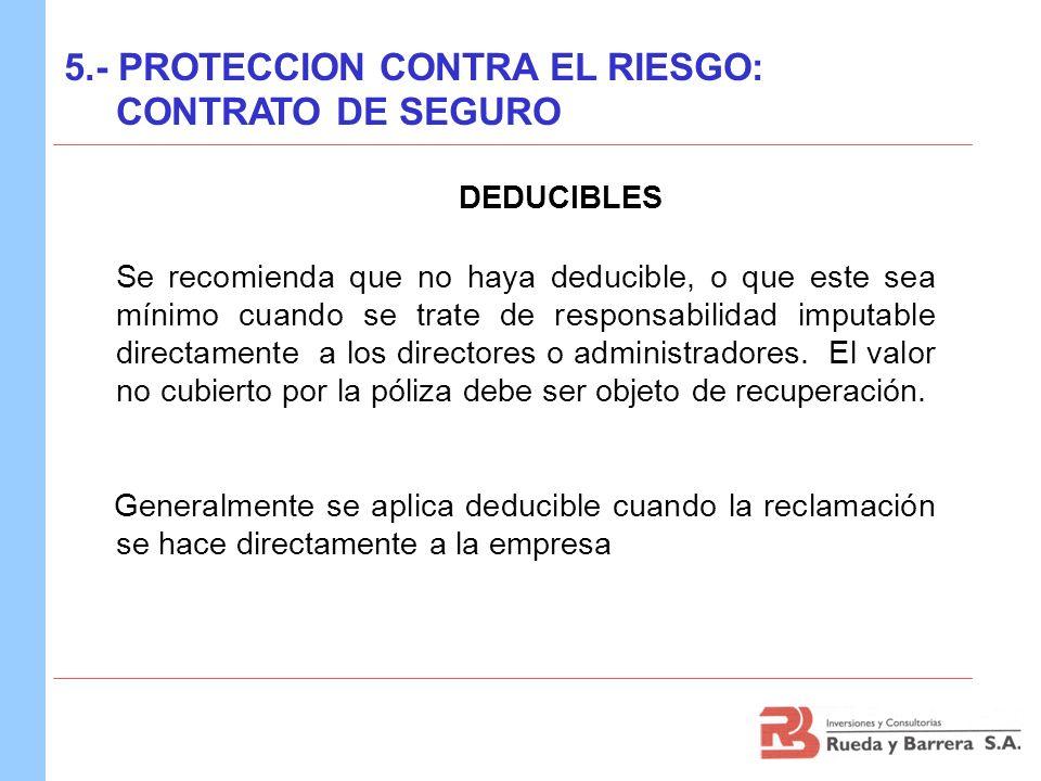 DEDUCIBLES 5.- PROTECCION CONTRA EL RIESGO: CONTRATO DE SEGURO Se recomienda que no haya deducible, o que este sea mínimo cuando se trate de responsab