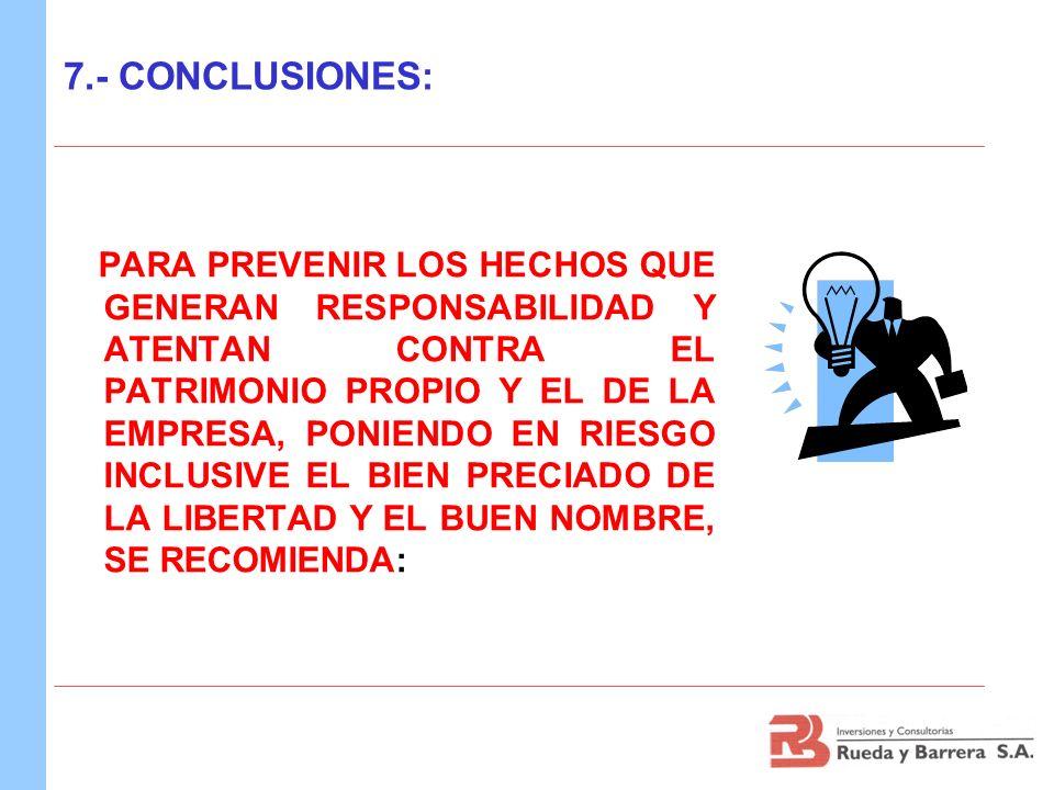 7.- CONCLUSIONES: PARA PREVENIR LOS HECHOS QUE GENERAN RESPONSABILIDAD Y ATENTAN CONTRA EL PATRIMONIO PROPIO Y EL DE LA EMPRESA, PONIENDO EN RIESGO IN