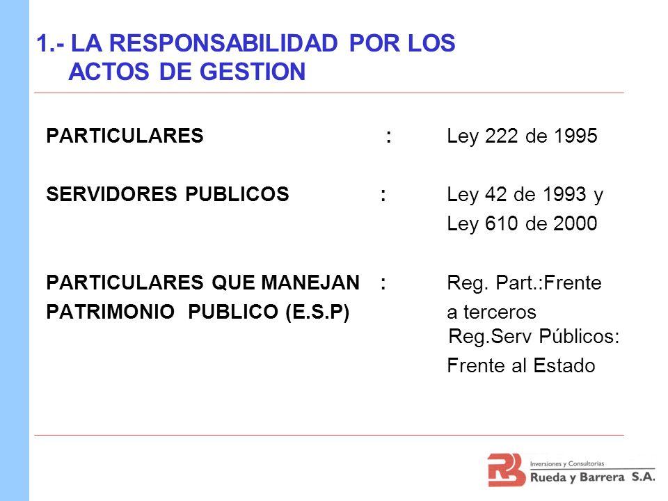 PARTICULARES : Ley 222 de 1995 SERVIDORES PUBLICOS :Ley 42 de 1993 y Ley 610 de 2000 PARTICULARES QUE MANEJAN: Reg. Part.:Frente PATRIMONIO PUBLICO (E