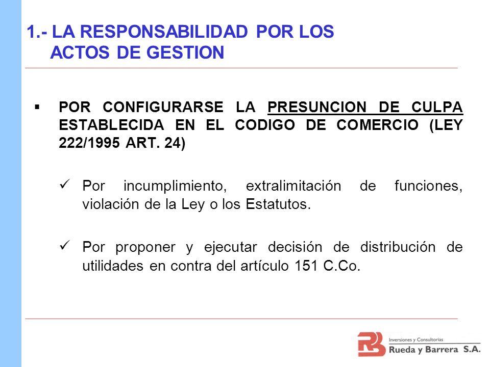 POR CONFIGURARSE LA PRESUNCION DE CULPA ESTABLECIDA EN EL CODIGO DE COMERCIO (LEY 222/1995 ART. 24) Por incumplimiento, extralimitación de funciones,