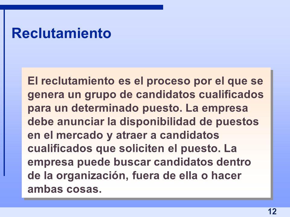 12 Reclutamiento El reclutamiento es el proceso por el que se genera un grupo de candidatos cualificados para un determinado puesto. La empresa debe a