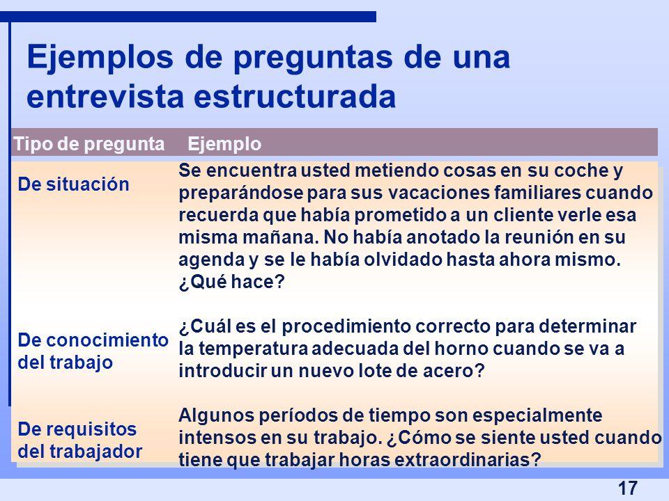 17 Ejemplos de preguntas de una entrevista estructurada Tipo de preguntaEjemplo De situación De conocimiento del trabajo De requisitos del trabajador