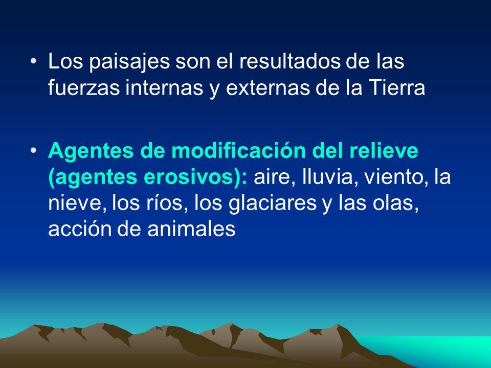 Los paisajes son el resultados de las fuerzas internas y externas de la Tierra Agentes de modificación del relieve (agentes erosivos): aire, lluvia, v