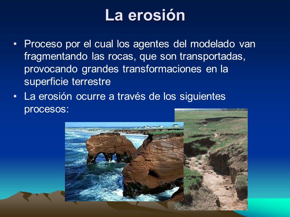 Proceso por el cual los agentes del modelado van fragmentando las rocas, que son transportadas, provocando grandes transformaciones en la superficie t