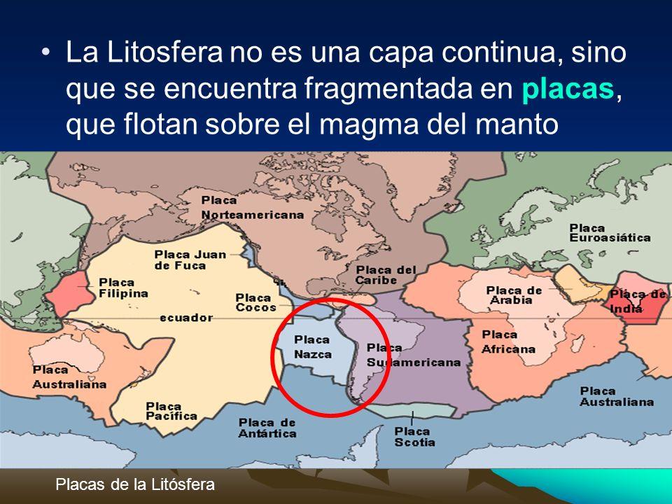 La Litosfera no es una capa continua, sino que se encuentra fragmentada en placas, que flotan sobre el magma del manto Placas de la Litósfera