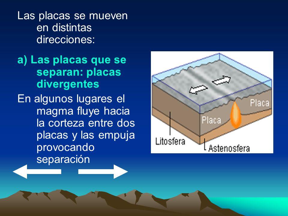Las placas se mueven en distintas direcciones: a) Las placas que se separan: placas divergentes En algunos lugares el magma fluye hacia la corteza ent