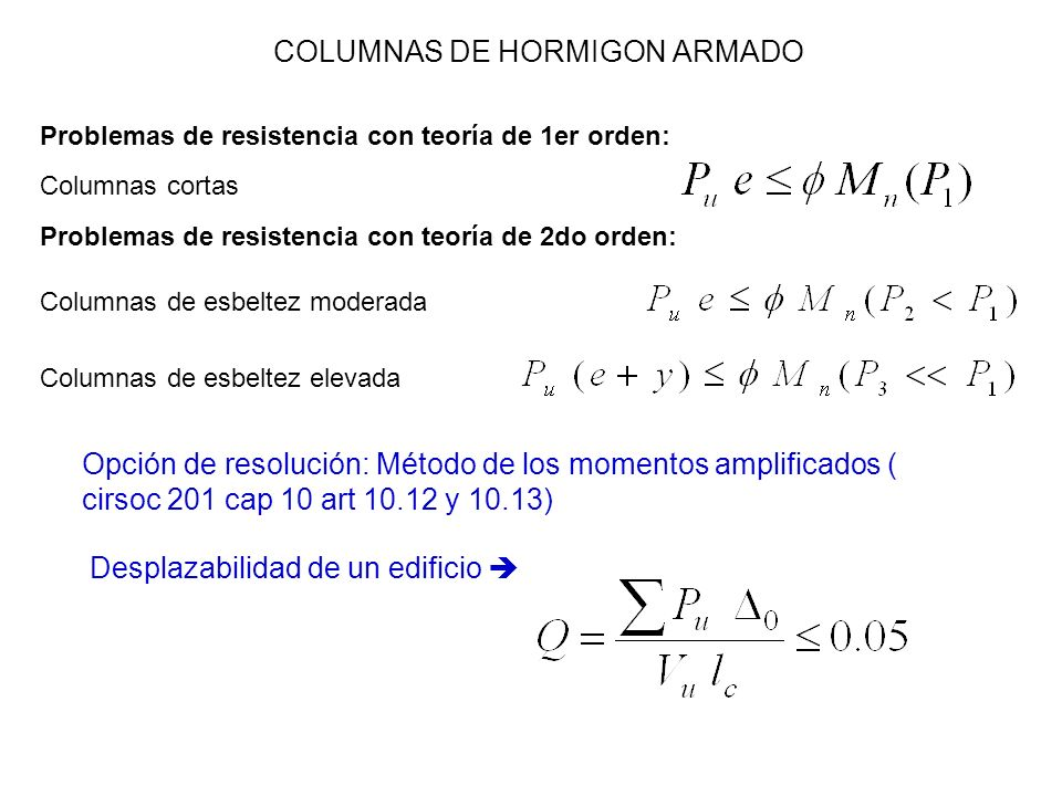 COLUMNAS DE HORMIGON ARMADO Problemas de resistencia con teoría de 1er orden: Problemas de resistencia con teoría de 2do orden: Columnas cortas Column