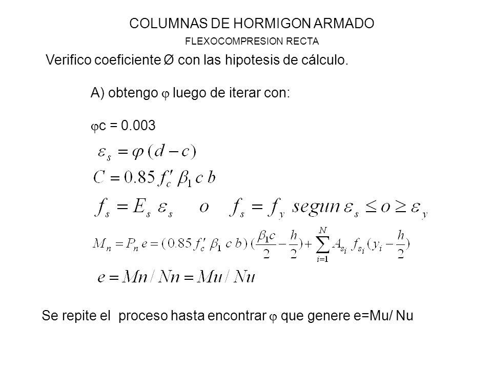 COLUMNAS DE HORMIGON ARMADO FLEXOCOMPRESION RECTA Verifico coeficiente Ø con las hipotesis de cálculo. A) obtengo luego de iterar con: c = 0.003 Se re
