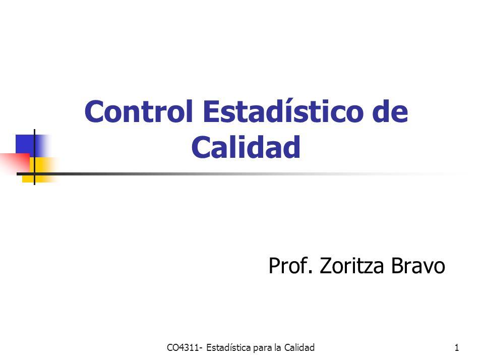 CO4311- Estadística para la Calidad1 Control Estadístico de Calidad Prof. Zoritza Bravo