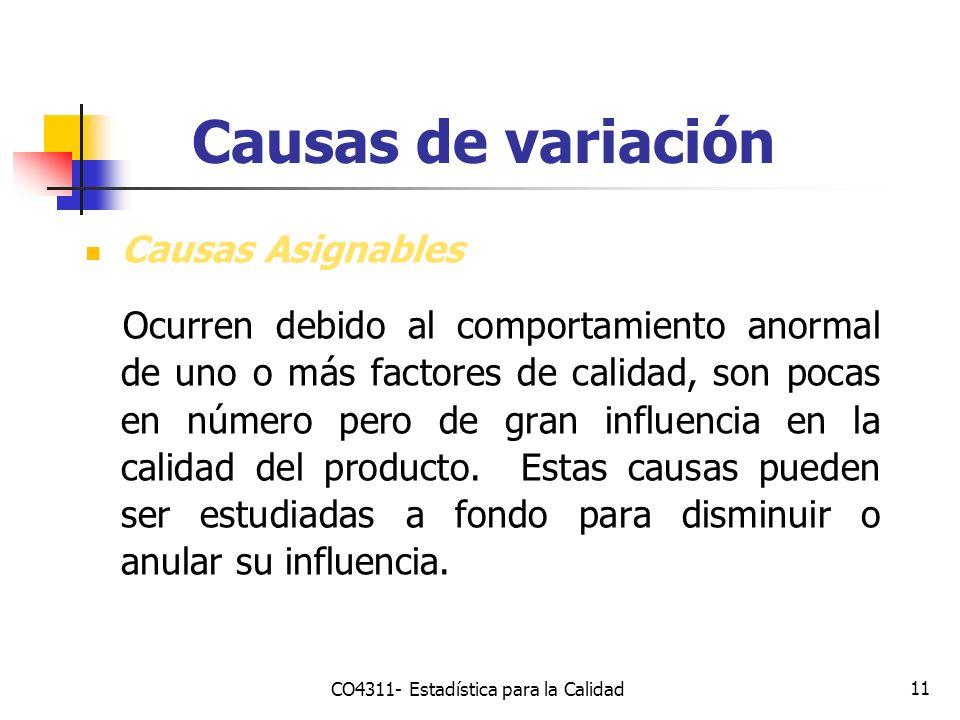 11 Causas de variación Causas Asignables Ocurren debido al comportamiento anormal de uno o más factores de calidad, son pocas en número pero de gran i
