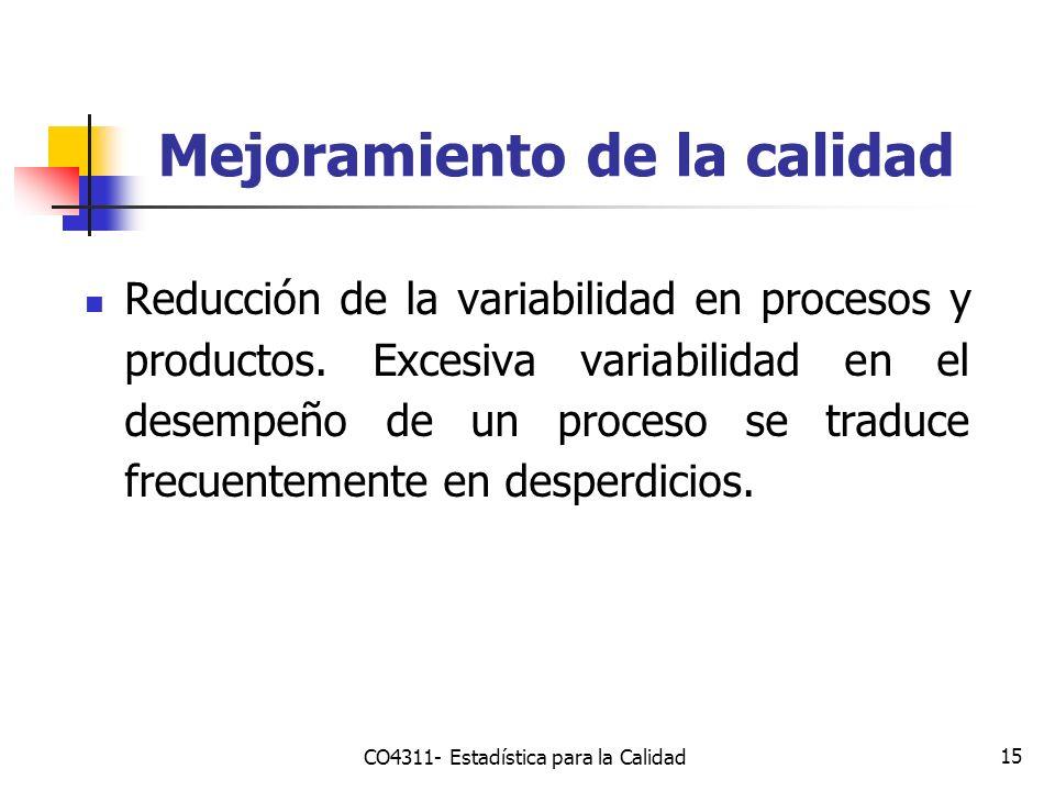 15 Mejoramiento de la calidad Reducción de la variabilidad en procesos y productos. Excesiva variabilidad en el desempeño de un proceso se traduce fre