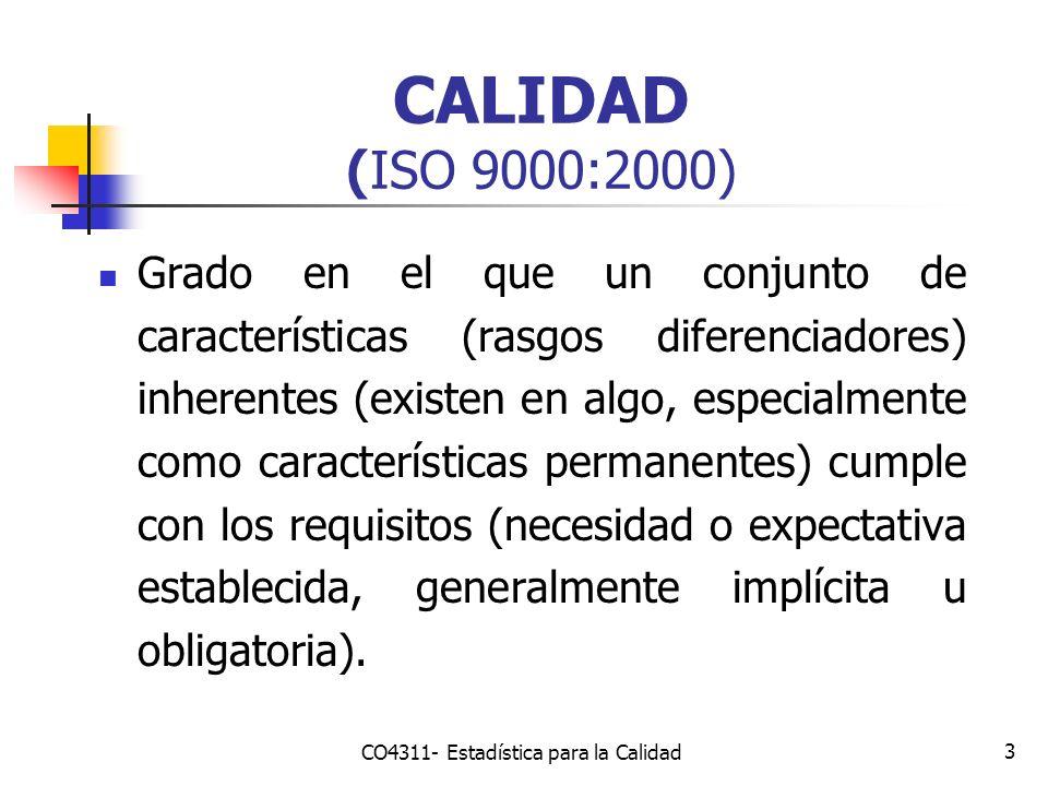 3 CALIDAD (ISO 9000:2000) Grado en el que un conjunto de características (rasgos diferenciadores) inherentes (existen en algo, especialmente como cara