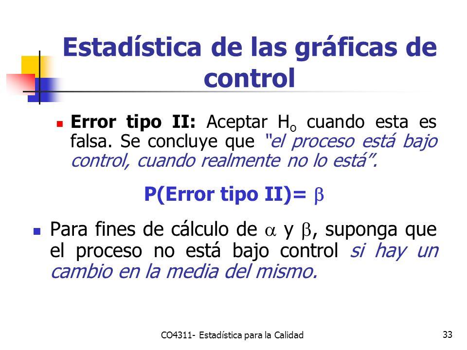 33 Error tipo II: Aceptar H o cuando esta es falsa. Se concluye que el proceso está bajo control, cuando realmente no lo está. P(Error tipo II)= Para
