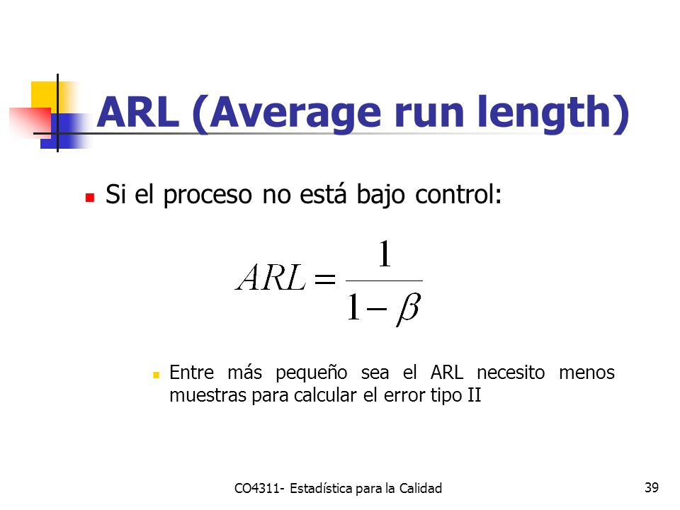 39 Si el proceso no está bajo control: Entre más pequeño sea el ARL necesito menos muestras para calcular el error tipo II ARL (Average run length) CO