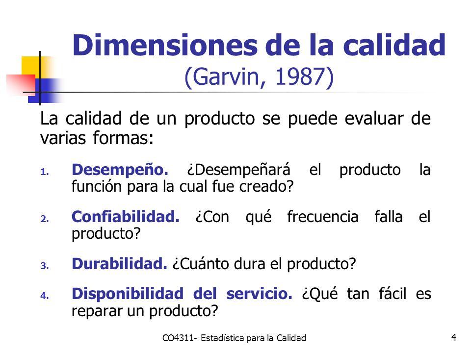 4 Dimensiones de la calidad (Garvin, 1987) La calidad de un producto se puede evaluar de varias formas: 1. Desempeño. ¿Desempeñará el producto la func