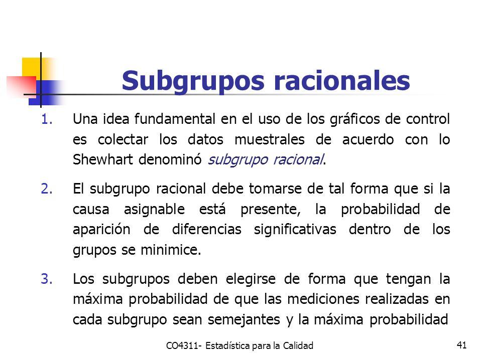41 Subgrupos racionales 1.Una idea fundamental en el uso de los gráficos de control es colectar los datos muestrales de acuerdo con lo Shewhart denomi