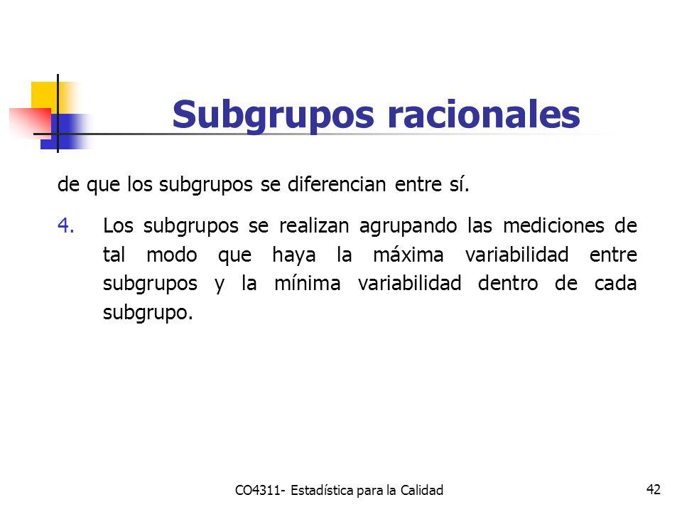 42 Subgrupos racionales de que los subgrupos se diferencian entre sí. 4.Los subgrupos se realizan agrupando las mediciones de tal modo que haya la máx