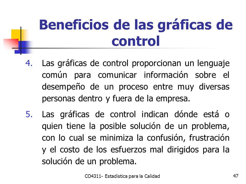 47 4.Las gráficas de control proporcionan un lenguaje común para comunicar información sobre el desempeño de un proceso entre muy diversas personas de