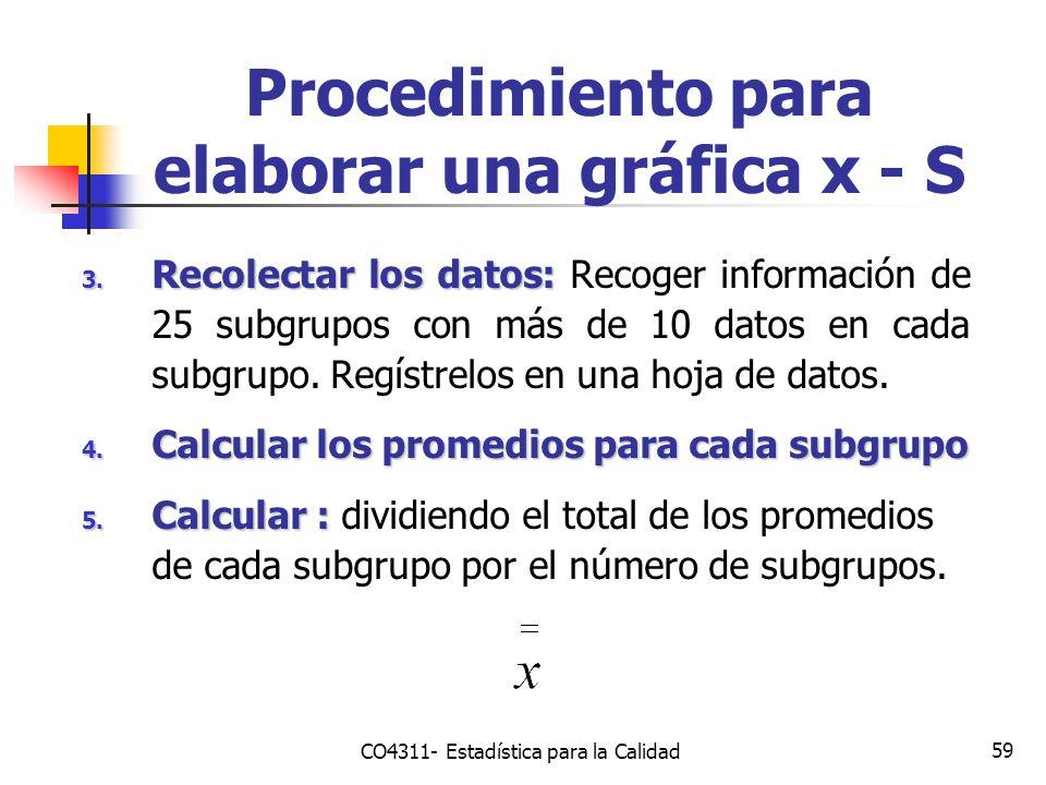 59 3. Recolectar los datos: 3. Recolectar los datos: Recoger información de 25 subgrupos con más de 10 datos en cada subgrupo. Regístrelos en una hoja