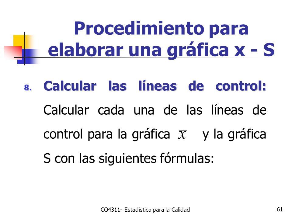 61 8. Calcular las líneas de control: 8. Calcular las líneas de control: Calcular cada una de las líneas de control para la gráfica y la gráfica S con