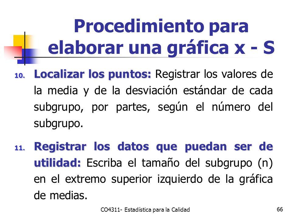 66 10. Localizar los puntos: 10. Localizar los puntos: Registrar los valores de la media y de la desviación estándar de cada subgrupo, por partes, seg