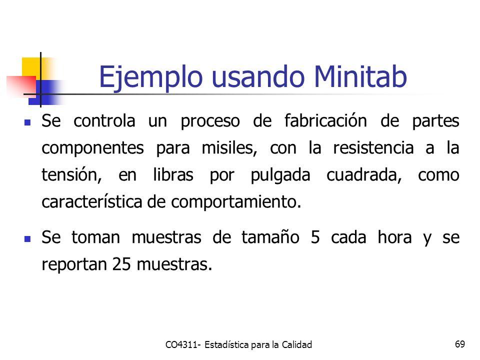 Ejemplo usando Minitab 69 Se controla un proceso de fabricación de partes componentes para misiles, con la resistencia a la tensión, en libras por pul