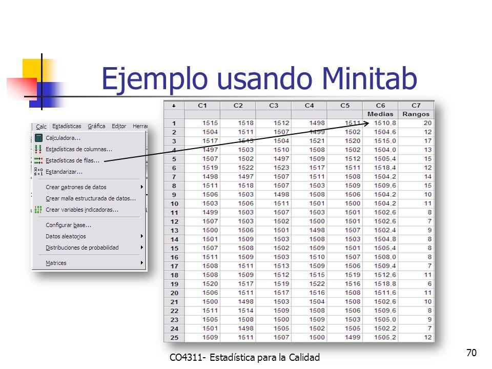 70 Ejemplo usando Minitab CO4311- Estadística para la Calidad
